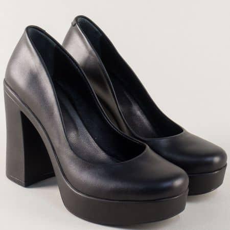 Кожени дамски обувки в черно на висок ток и платформа 76ch