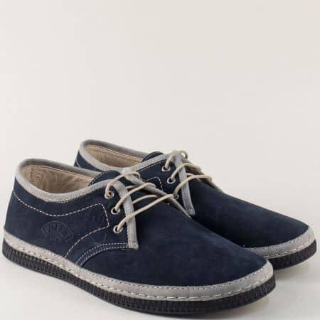 Мъжки обувки с връзки от естествен набук в сиво и синьо 786ns