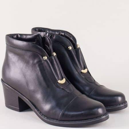 Черни дамски боти на български производител от естествена кожа на ток 78911554ach