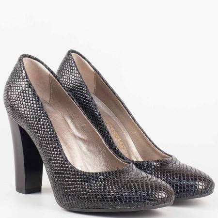 Дамски черни обувки с елегантна визия и змийски принт на висок стабилен ток 78zch