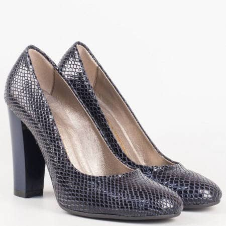 Елегантни обувки на висок стилен ток със змийски мотив от висококачествена еко кожа 78zs