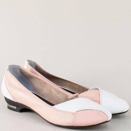 Кожени дамски обувки в бял и розов цвят на нисък ток 8003rz