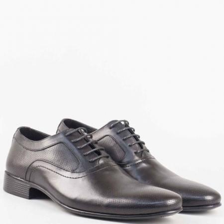 Елегантни мъжки обувки с връзки в черен цвят от естествена кожа изцяло 8052ch