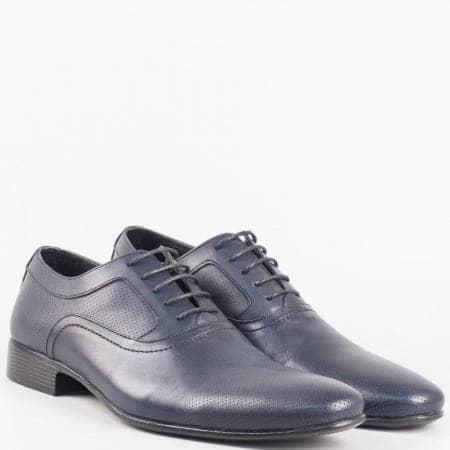 Стилни мъжки обувки с връзки от естествена кожа в син цвят и стелка също от естествена кожа 8052s