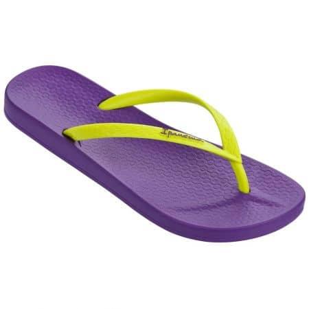 Дамски джапанки Ipanema в лилав и жълт цвят на равно и комфортно ходило  8103021311