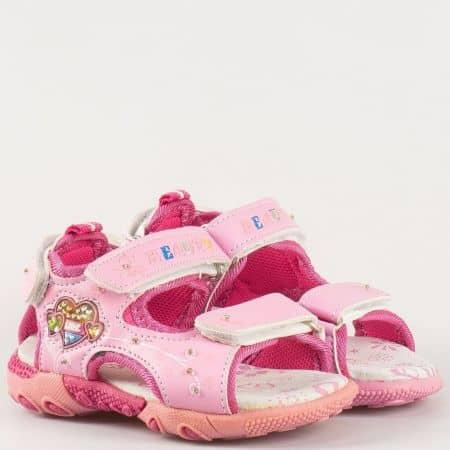 Анатомични, български детски сандали от естествена кожа в розов цвят 81092-30rz