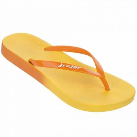Качествени дамски джапанки с лента между пръстите- Rider в жълто и оранж 8165521529