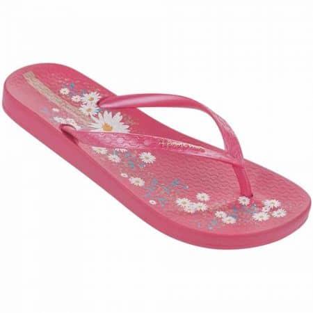 Розови дамски джапанки с лента между пръстите и флорални мотиви- Ipanema 8169821038