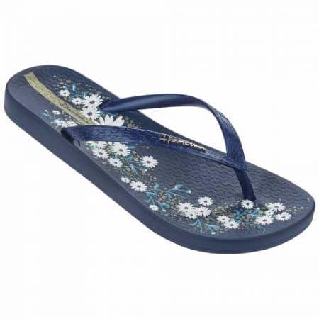 Дамски бразилски джапанки с лента между пръстите и флорални мотиви- Ipanema в син цвят  8169821119