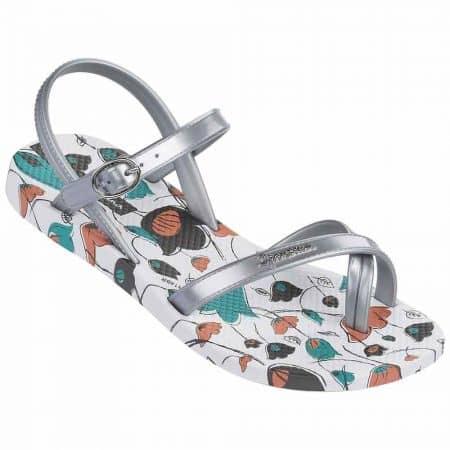Детски модерни сандали с лента между пръстите- Ipanema в бяло, сребро, зелено и оранж 8171520932