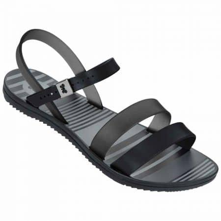 Дамски сандали на меко, гъвкаво ходило с катарама на бразилския производител Grendha в черен и сив цвят 8175590058
