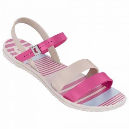 Дамски сандали на равно удобно ходило със свежа визия на бразилския производител Grendha в розово и бяло 8175590202