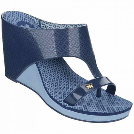 Дамски джапанки на удобно клин ходило с атрактивен дизайн на бразилския производител Grendha в син цвят 8175890061
