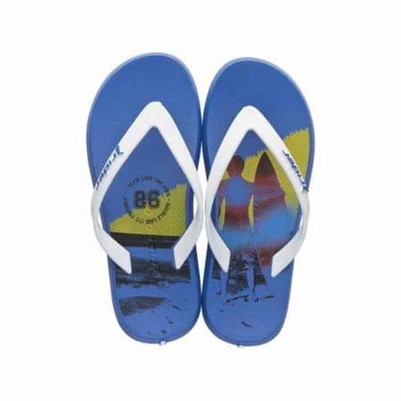 Сини детски джапанки с лента между пръстите и ефектен принт- Rider 8176824079