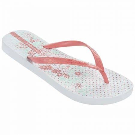 Нежно бели дамски джапанки с лента между пръстите и флорален принт- Ipanema в бяло, розово и синьо 8180923919