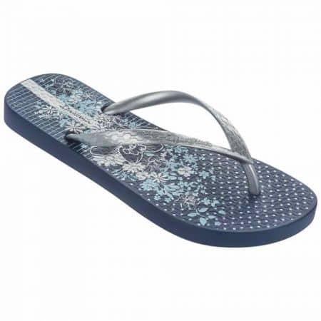 Дамски качествени джапанки изработени от силикон на гъвкаво, меко ходило на Ipanema в синьо и сиво 8180923983