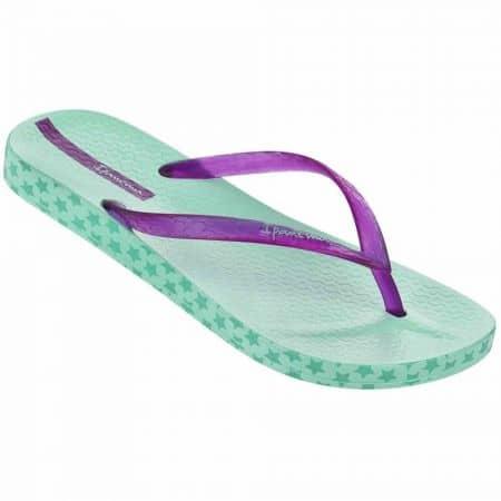 Дамски комфортни джапанки на меко ходило от висококачествен силикон на бразилския производител Ipanema в зелен и лилав цвят 8189020735