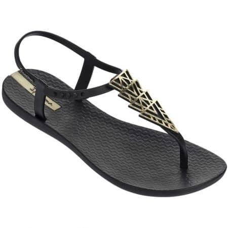 Дамски сандали Ipanema в черен и златист цвят на равно ходило 8193224354
