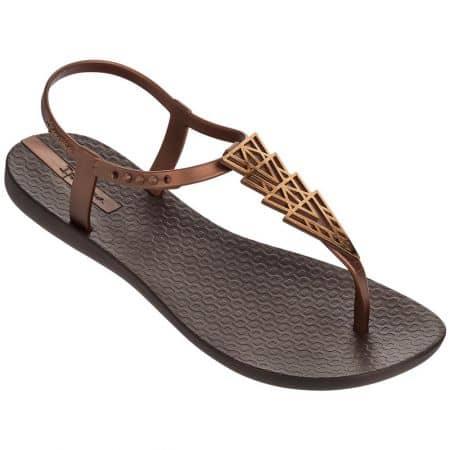 Ежедневни дамски сандали Ipanema на равно ходило в тъмно кафяв и бронзов цвят 8193224355