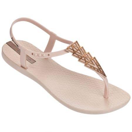 Дамски сандали в бежов и бронзов цвят на равно ходило 8193224357