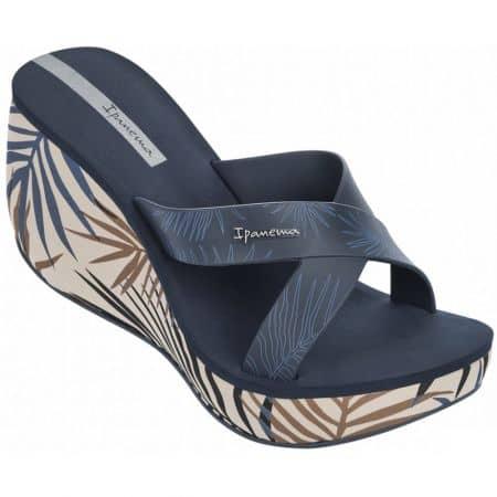 Бразилски дамски чехли на платформа в тъмно син и кафяв цвят 8193423139