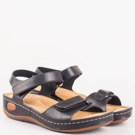 Черни дамски сандали на платформа с анатомична стелка 8200ch