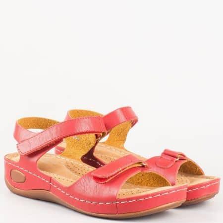 Червени ежедневни дамски сандали на анатомично ходило 8200chv
