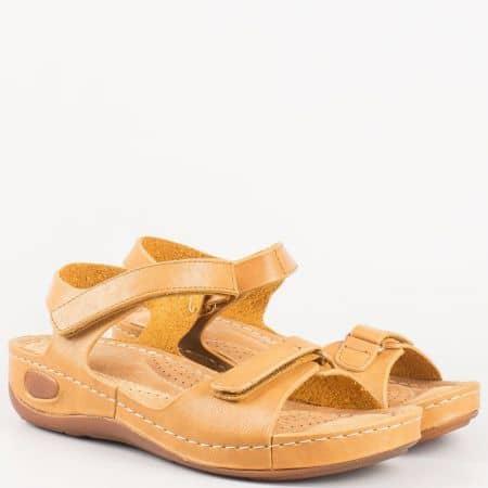Комфортни кафяви дамски сандали с анатомична стелка  8200k