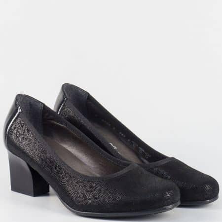 Дамски черни обувки на среден ток- ALPINA от естествен лак и набук 82033nch