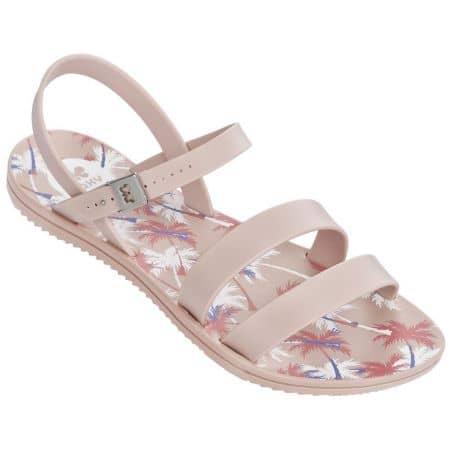 Дамски сандали Grendha в бежов и розов цвят на равно ходило  8206190469