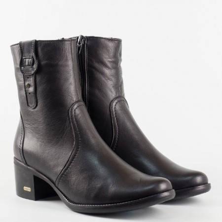 Дамски ежедневни боти в тъмно черен цвят с цип и ластик, българско производство melisa820ch
