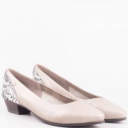 Дамски ежедневни обувки на нисък ток от естествена и еко кожа на немския производител Jana в сив цвят 822200svz