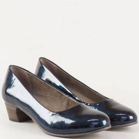 Сини дамски обувки на среден ток с Memory стелка 822360ls
