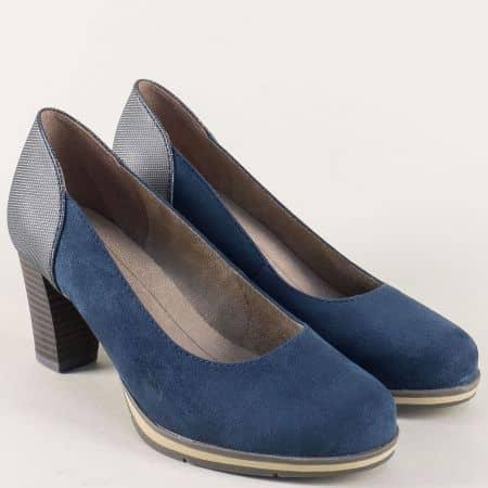 Сини дамски обувки на платформа и висок ток- Jana 82246228vs