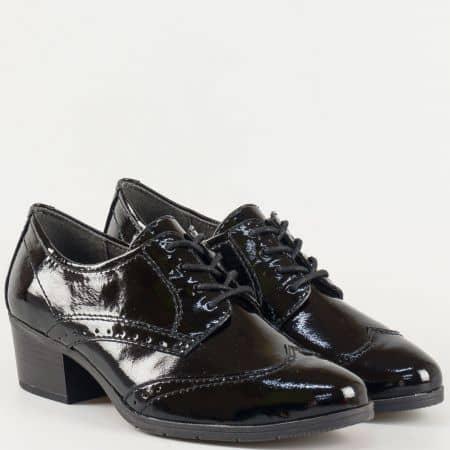 Черни ежедневни дамски обувки Jana от еко лак 823360lch