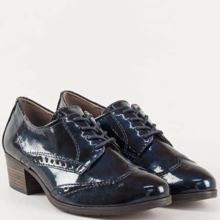 Дамски обувки с връзки Jana в син лак 823360ls