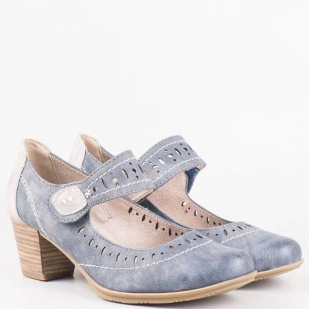 Дамски ежедневни обувки с еластично коланче на немския производител Jana в син цвят 824366s