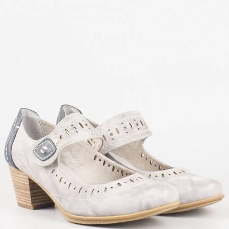 Дамски комфортни обувки с велкро лепенка на немския производител Jana в сив цвят 824366sv