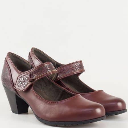 Дамски модерни обувки с лепка и змийски мотиви на среден ток- Jana в цвят бордо 82446027bd