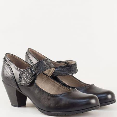 Комфортни дамски обувки с лепка и змийски мотиви на среден ток- Jana в черен цвят 82446027ch
