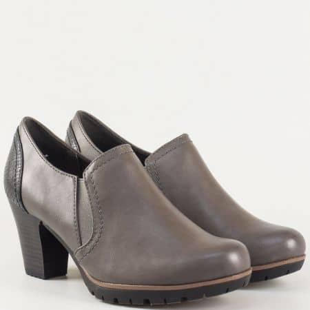 Дамски обувки с изчистена визия на висок ток с два ластика на немският производител-  Jana в сив цвят 824461sv