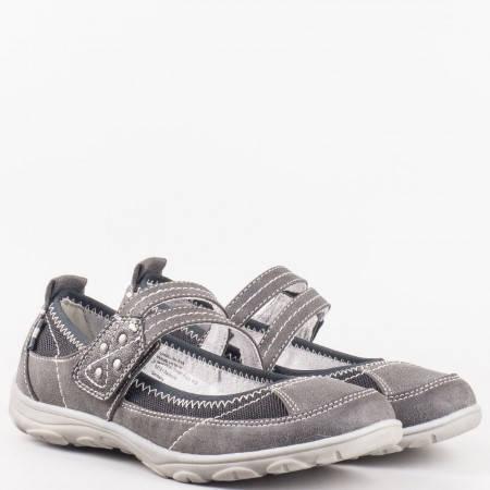 Дамски ежедневни обувки с комфортно гъвкаво ходило на немската марка Jana в сиво и черно 824663svch