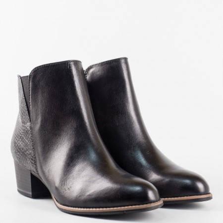 Черни дамски боти от естествена кожа  Jana на среден ток с Аntishokk система 825302ch