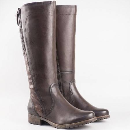 Дамски комфортни ботуши изработени от висококачествена естествена кожа на немския производител Jana в тъмно кафяв 825503k