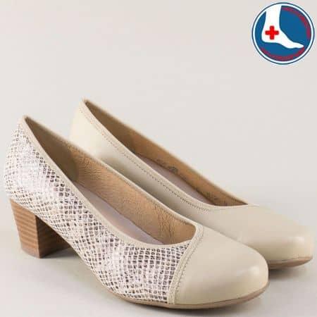 Бежови дамски обувки на среден ток с кожена стелка 825bj