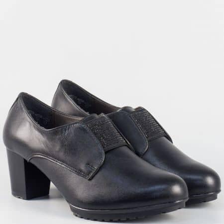 Дамски обувки Alpina от черна естествена кожа на среден ток 82791ch
