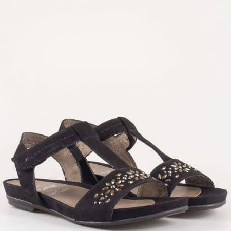 Дамски сандали за всеки ден изработени от висококачествен естествен велур и текстил на немския производител Jana в черен цвят 828112vch