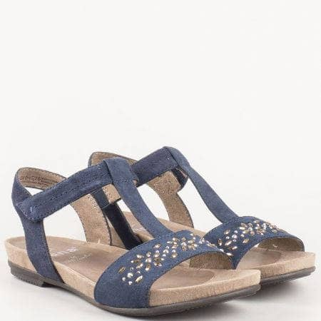 Равни дамски сандали с велкро лепенка и метални орнаменти от естествен велур в син цвят от немският производител Jana   828112vs