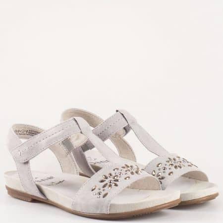 Дамски удобни сандали изработени от висококачествен естествен велур и текстил на немския производител Jana в сив цвят 828112vsv