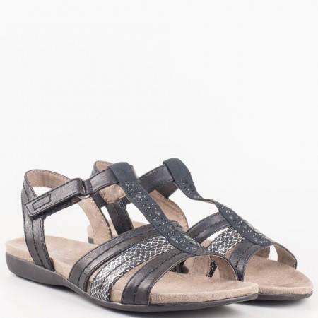 Немски дамски сандали Jana на равно ходило в черно 828165ch